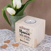 Glück ist, eine Mama wie dich zu haben - Teelichthalter aus Holz, 8 x 8cm