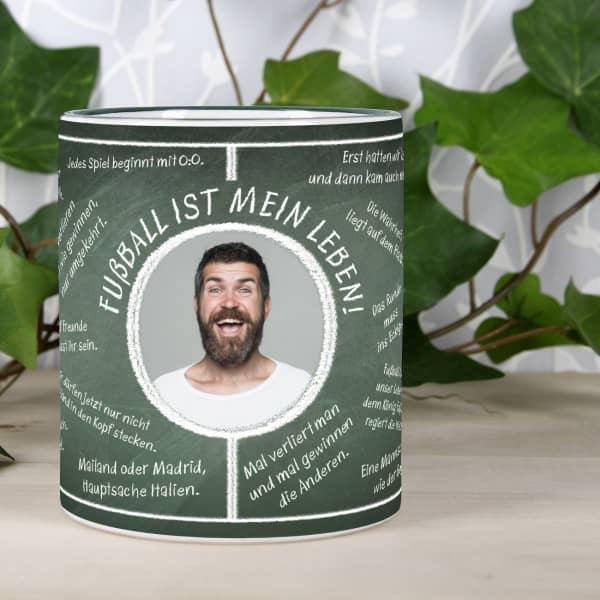 Individuellfotogeschenke - Fussball Fan Tasse bedruckt mit Fussballweisheiten und Wunschtext und Foto - Onlineshop Geschenke online.de