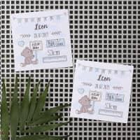 10 Dankeskarten als Magnet zur Geburt für Jungs