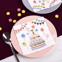 Bunte Servietten zum 1. Geburtstag