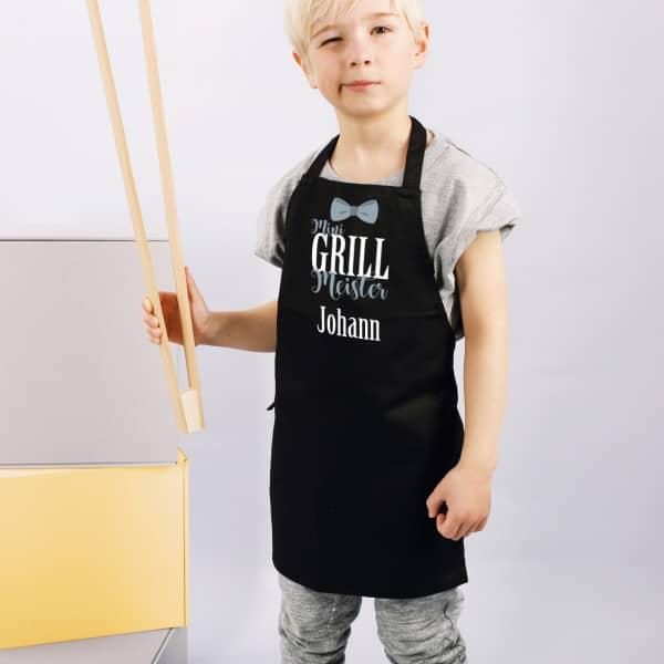 Kinder-Grillschürze in schwarz oder weiß - Mini Grill Meister