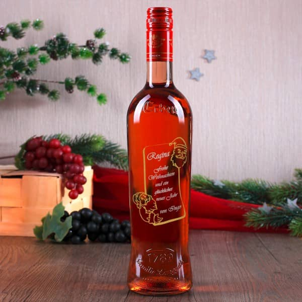 Weinflasche mit Gravur und Nikolaus-Motiv zu Weihnachten