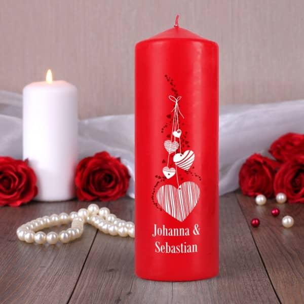 Rote Kerze mit romantischem Aufdruck und Ihren Wunschnamen