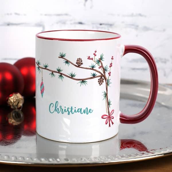 Individuellküchenzubehör - Festliche Weihnachtstasse mit Zweigen und Name - Onlineshop Geschenke online.de