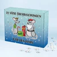 DIY Adventskalender mit Weihnachtsmäusen und zwei eigenen Zeilen