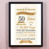 Bilderrahmen - Geschenk zur goldenen Hochzeit mit Namen und Datum