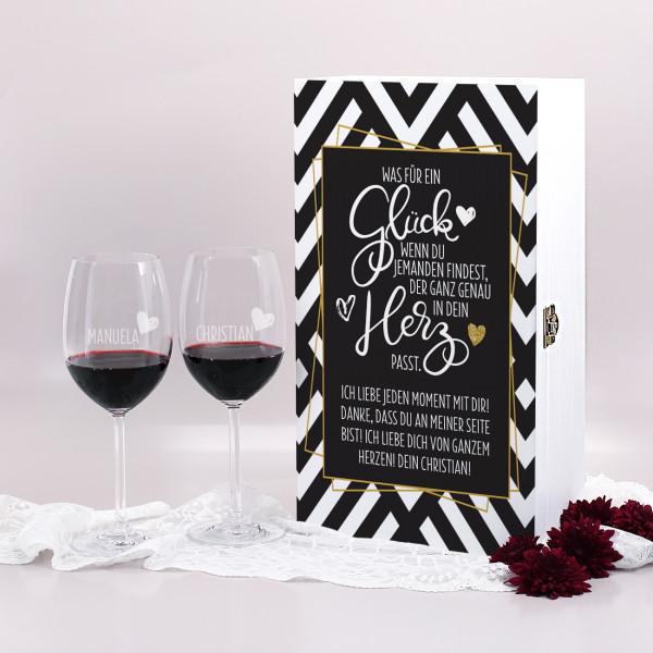 Geschenkset aus Holzkiste mit personalisiertem Druck und zwei Weingläsern mit Gravur