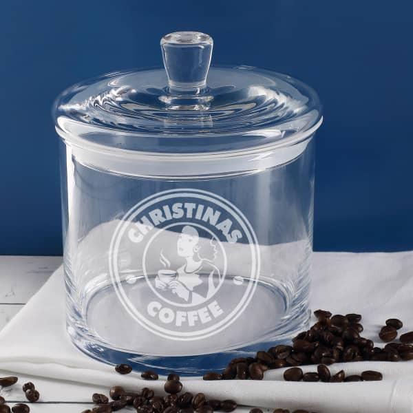 Individuellküchenzubehör - Leonardo Glasdose mit Kaffeemotiv und Ihrem Wunschnamen - Onlineshop Geschenke online.de