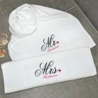 Mr und Mrs Handtuch - Set für Paare mit Name