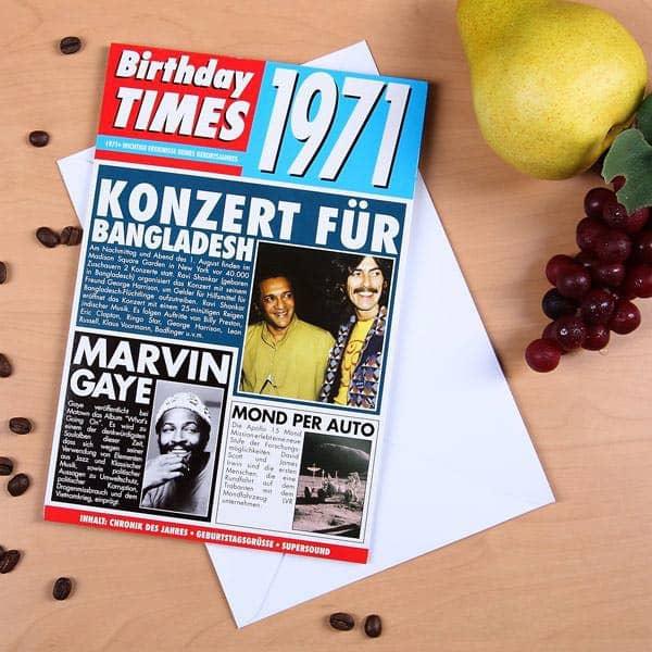 Birthday Times Karte 1971