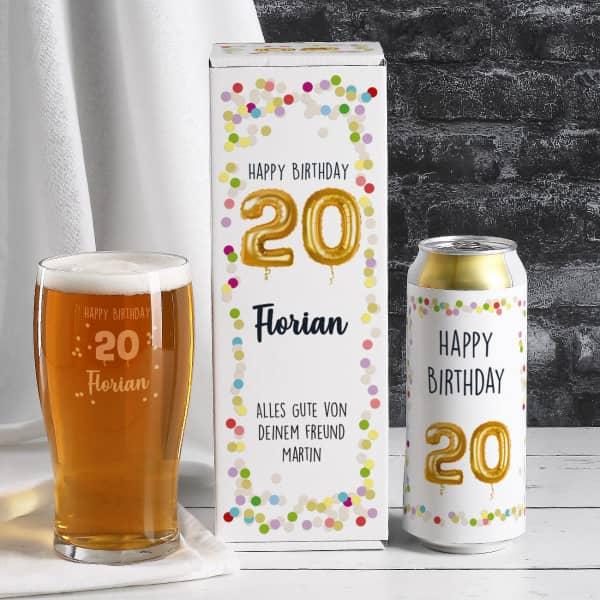 Happy Birthday 20 - persönliches Biergeschenk zum 20. Geburtstag