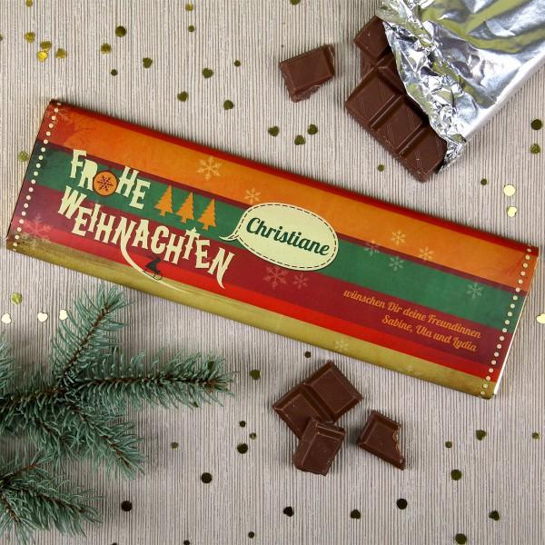 Weihnachtsschokolade im Retro-Look und Personalisierung