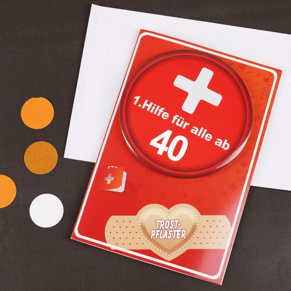 Klappkarte mit Button zum 40. Geburtstag