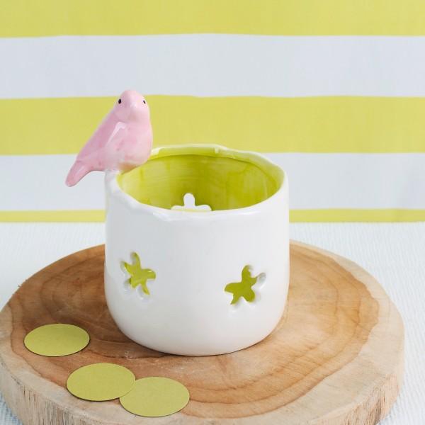 Frühlingsdeko Teelichthalter Meise