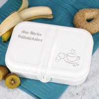 Frühstücksbox - große Brotdose in weiß mit Ihrem Namen