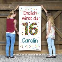 Geburtstagsbanner XL zum 16. Geburtstag mit Konfettizahl, Name und Text