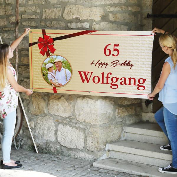 XXL Geburtstagsbanner mit Schleife und Foto 1,60 x 0,80m