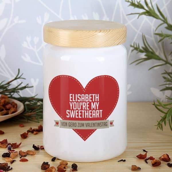 Keramikdose you're my sweetheart mit Name und Wunschtext bedruckt