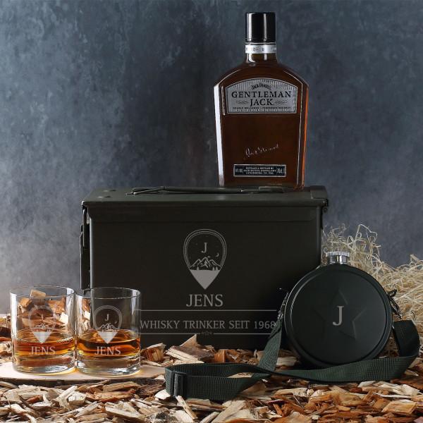 Ausgefallenspezielles - Edles Whisky Geschenkset in original Munitionsbox mit gravierten Whiskygläser... - Onlineshop Geschenke online.de