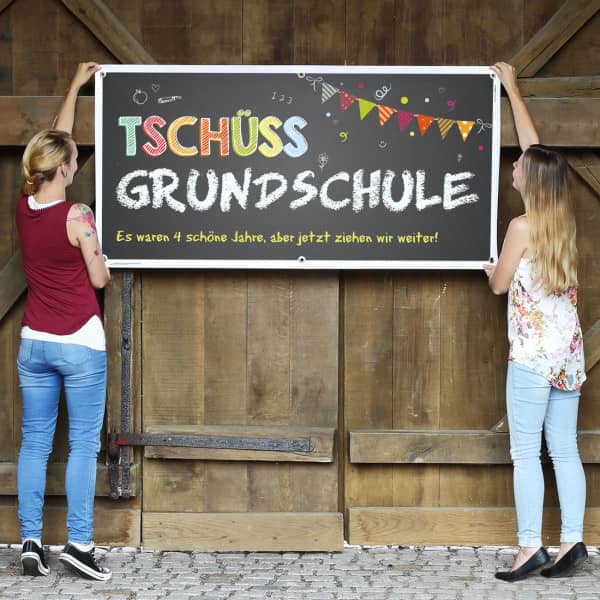 Tschüss Grundschule - XXL Banner mit Wunschtext
