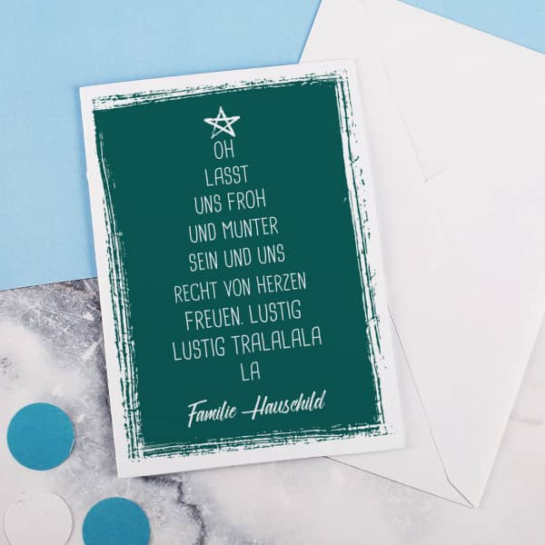 Weihnachtsklappkarte mit Umschlag und personalisierung