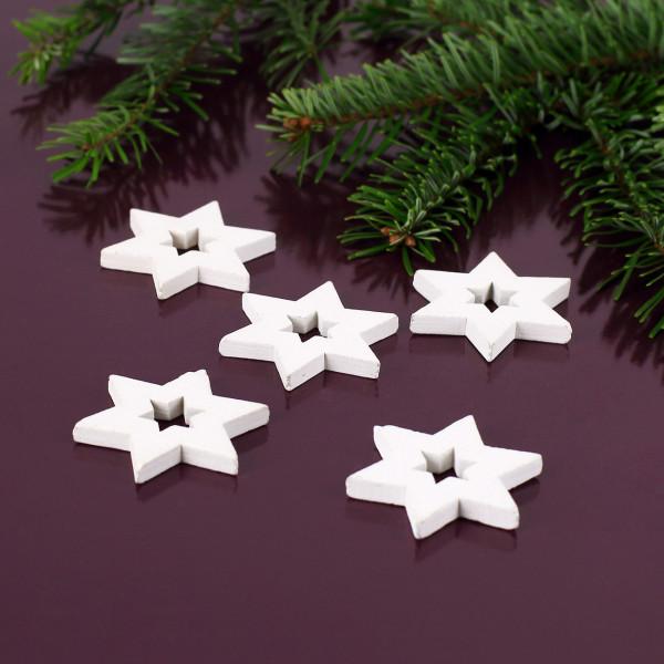 Weiße Streudeko aus Holz im 5er Set - Sterne