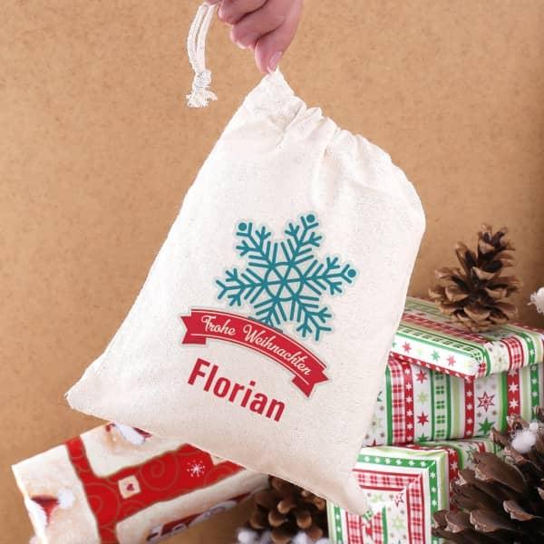 Geschenksäckchen zu Weihnachten mit Name und Schneestern