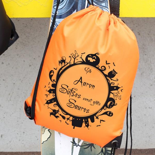 Rucksack mit Halloweenmotiv und Ihrem Wunschnamen