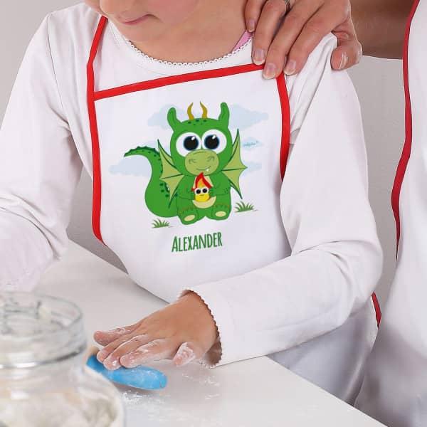 Individuellbabykind - Kinderschürze mit Drache und Wunschname - Onlineshop Geschenke online.de