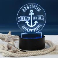 Acryllampe als Hochzeitsgeschenk mit den Namen des Brautpaares
