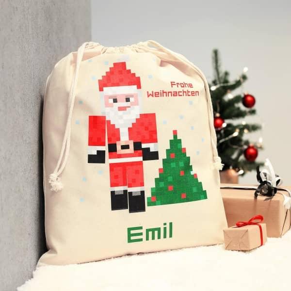 Weihnachtsgeschenksack im Pixeldesign