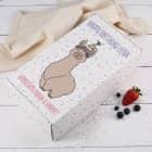 Geschenkverpackung mit Geburtstags-Lama und Wunschtexten