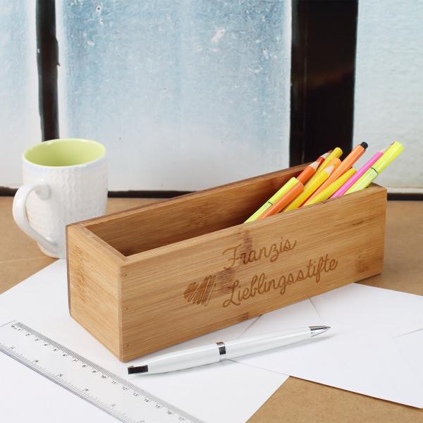 Holzbox für Stifte mit Gravur