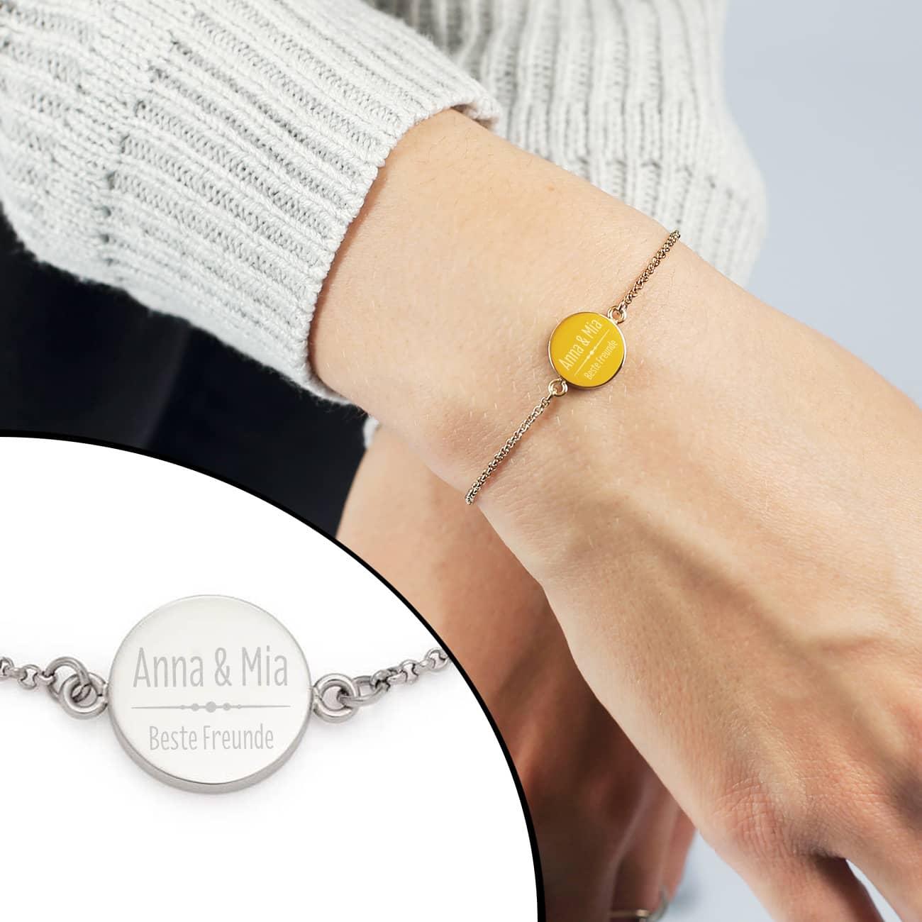 Graviertes Leonardo Armband mit Ihren Wunschtexten in Silber oder Gold