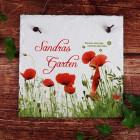 Platte aus Schiefer mit Gartenmotiv