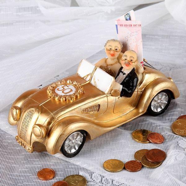 Goldener Oldtimer als Spardose zur Goldhochzeit