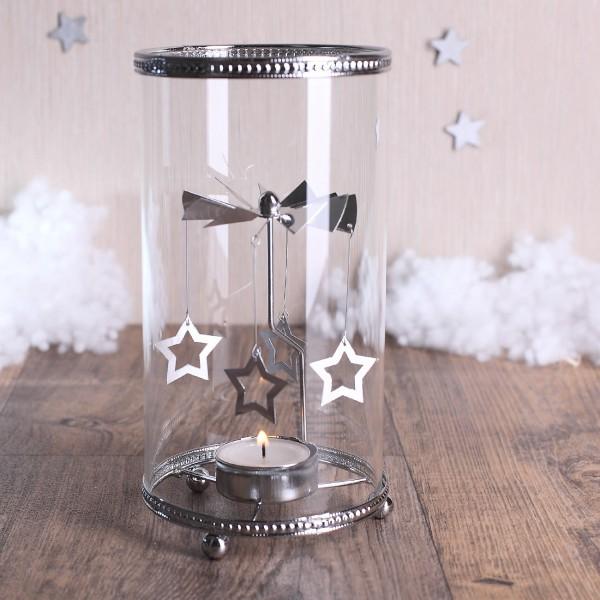 Glas - Windlicht mit Sternen