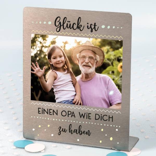 Glück ist... - Edelstahl Foto-Aufsteller mit Ihrem Bild und Wunschtext 14x17 cm