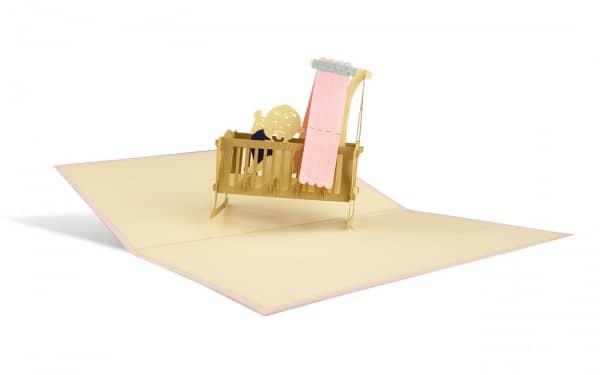 Pop Up Karte zur Geburt eines Mädchens Kinderwiege rosa