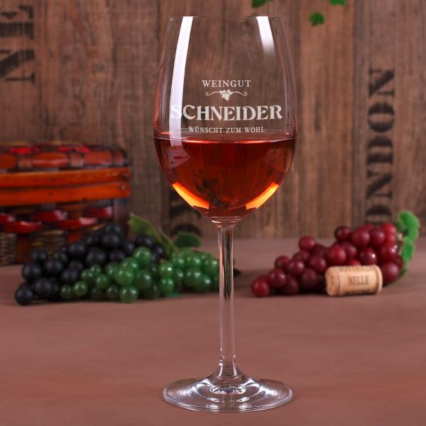 Weinglas Weingut mit Gravur des Familiennamens