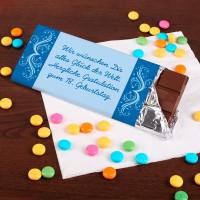 100g Schokolade mit Wunschtext und Ornamenten in Blautönen