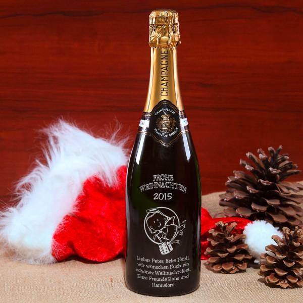 Hochwertige Champagnerflasche mit individueller Gravur und Christkind-Motiv in silber
