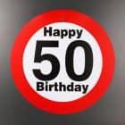 großes Verkehrsschild zum 50. Geburtstag
