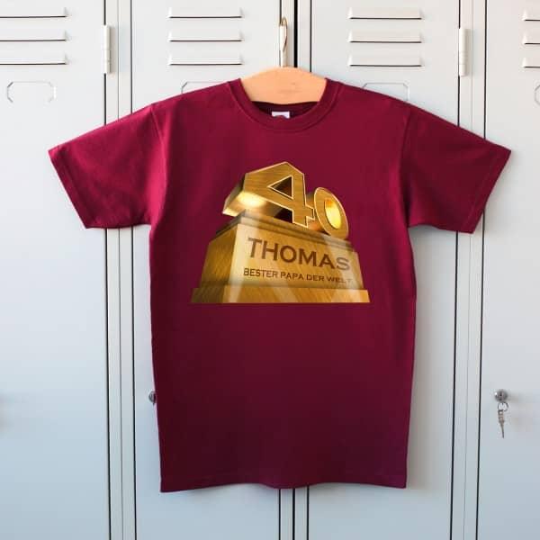 T Shirt zum 40. Geburtstag mit Namen und Zahl