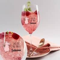 Lass die Sau raus! - bedrucktes Weinglas mit Partyschweinchen