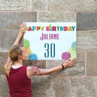 Kleines Geburtstagsbanner Happy Birthday mit Name und Alter