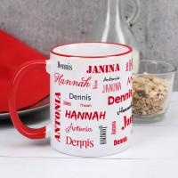 Vier Namen - Familientasse mit rotem Rand und Henkel