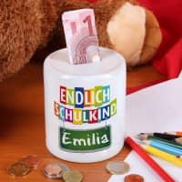 Endlich Schulkind - Spardose mit Namensaufdruck