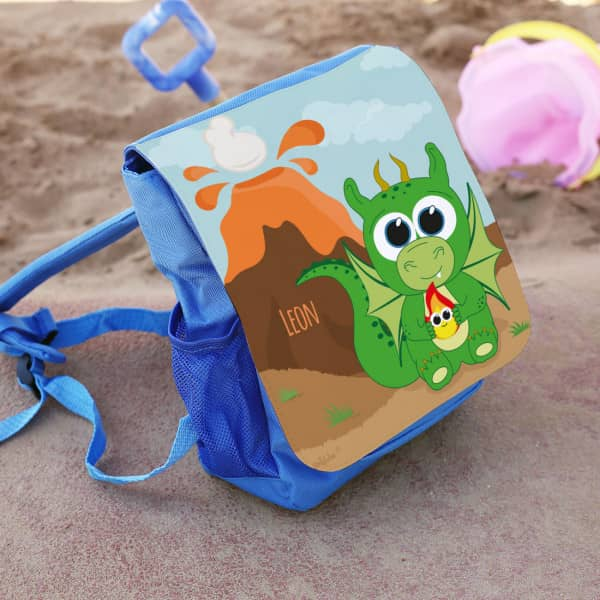 Kinderrucksack mit Drache bedruckt in blau
