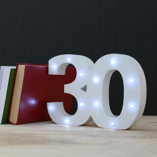 LED Deko-Zahl 30 aus Holz